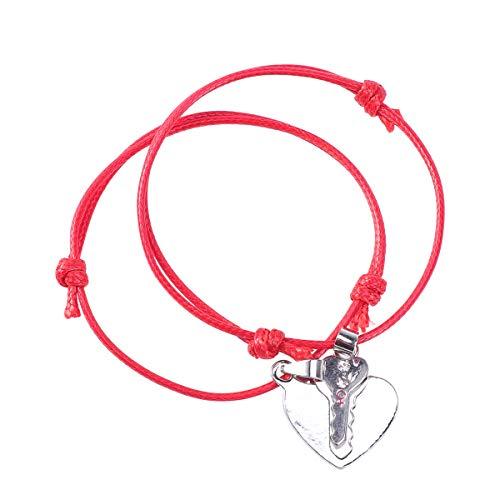 Armbänder einstellbar geflochtenes Nylon Liebe Dich Kette herzförmigen Schlüssel Charme (rot) ()