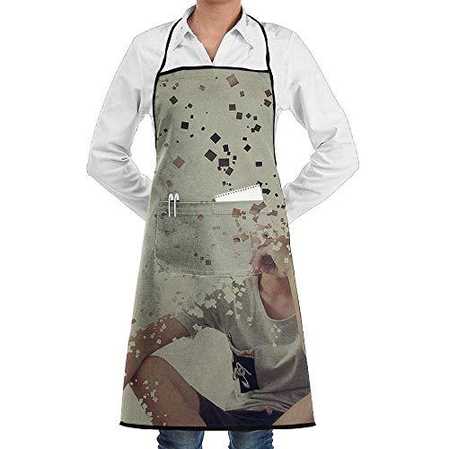 xcvgcxcvasda Einstellbare Latzschürze mit Tasche, Bib Schürze Disappearing Boy Durable Cooking Kitchen Schürzes Can Embroidery Cooking, Baking, Crafting, Gardening, BBQ