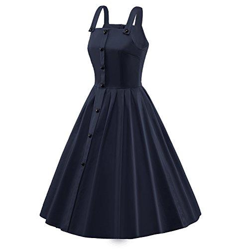 iLover 1950s Vintage Button Robe de Cocktail Style Audrey Hepburn Rockabilly Robes de swing Bleu