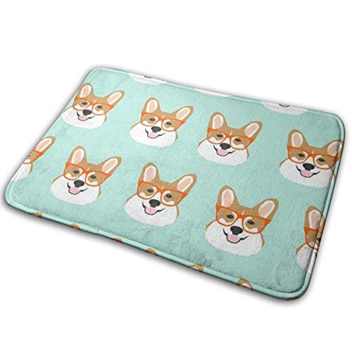 (Bgejkos Anti-Rutsch-Mehltau-beständige antibakterielle Badezimmer-Matte lustige Corgi-Hunde mintgrüner Wolldecken-Stützmaschinewäsche)