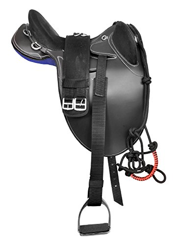 Manaal Enterprises Synthetic Suede Australian Stock English Horse Saddle Tack Included Stirrup, Get Matching Girth & Rope Halter Size- 14