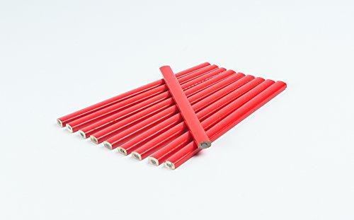 10 Stück Zimmermannsbleistift I Rot I oval I 175 mm I Zimmermann-Bleistift I Strichbreiten von 1...