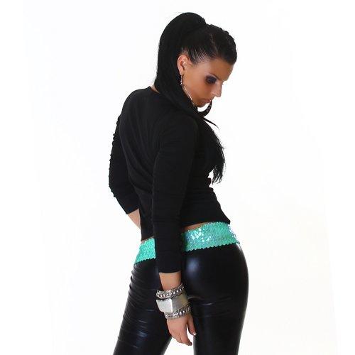 Langarmshirt Shirt Longsleeve mit Knopfleiste Sweater Sweatshirt trendiges Design Schwarz