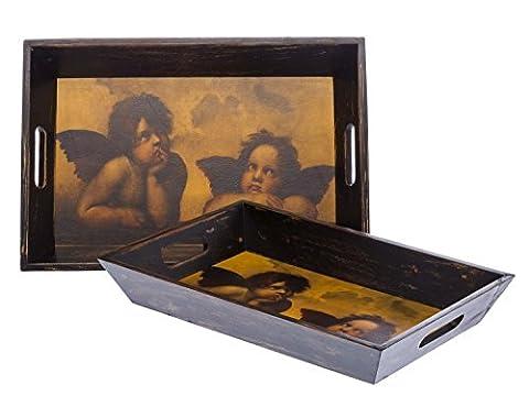 Bar tray - set of 2 - angel antique style - Raphael cherub - wood