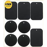 BrainWizz Pack 8 Plaques Métalliques pour support voiture aimanté/support voiture magnétique pour Smartphone/téléphone - 3M adhésif - (4 rectangulaires/4 rondes)