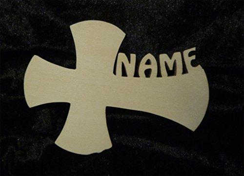 Schlummerlicht24.de 10er Pack Tischdeko Holz Streuartikel zur Geburt oder Taufe mit Wunsch Name für Baby Junge oder Mädchen - Ideal zum Geburtstag Kommunion (Motiv: Kreuz 1) (Kommunion-geschenke Jungen 1. Für)