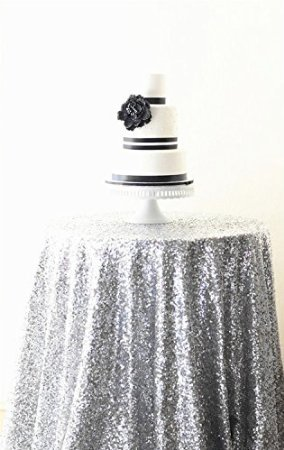 ShinyBeauty Silber Sequin Tischdecken für Hochzeit / Party-Every Size For Your Better Reference-180cm Runde Round Table Cover Hochzeit