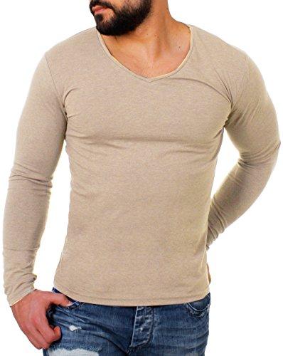 Young&Rich Herren Longsleeve Tiefer V-Ausschnitt Langarm Shirt Einfarbig Slimfit mit Stretchanteilen Uni Basic Deep V-Neck Tee Beige