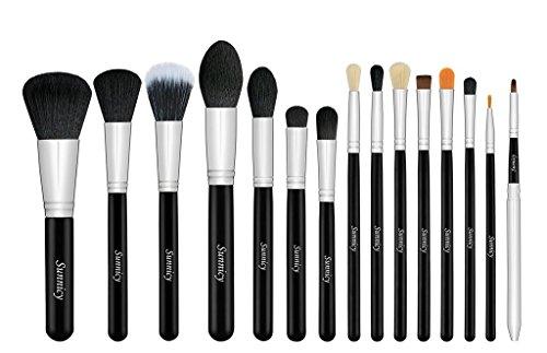 Professional Makeup Brush Set - Foundation Concealer Blending Blush Brush Face Powder Eyebrow & Eyeshadow Brush Cosmetics Tool Kit -15PCS Black Silver
