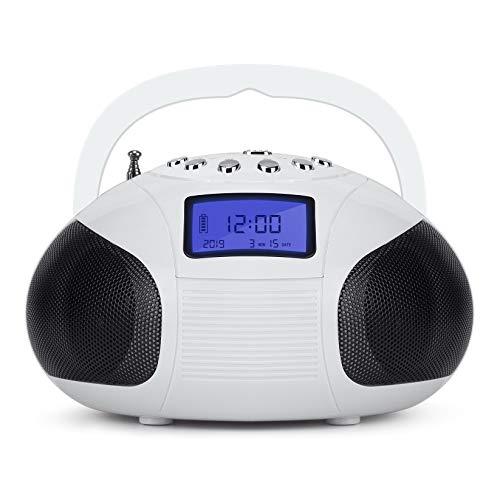 August SE20 - Mini Bluetooth Radio-Wecker (6W, Bluetooth, UKW, USB, SD, AUX Eingang, Akku) - weiß (Cd-player Mit Ipod-docking)