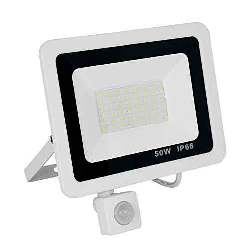 50W LED Strahler mit Bewegungsmelder 3 modi - Superhell LED Außenstrahler Fluter Flutlicht 6500K kaltweiß,IP66 Wasserfest Aluminium - für Garten,Garage,Hof oder Hote (50W kaltweiß,weiß) -