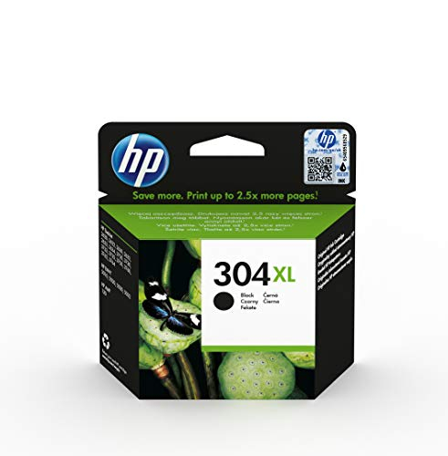 Hp 304 xl nero (n9k08ae) cartuccia originale per stampanti hp a getto di inchiostro, compatibile con stampanti hp deskjet 2620 e 2630; hp deskjet 3720; 3730; 3750 e 3760; hp envy 5010; 5020 e 5030