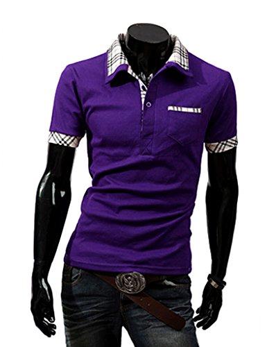 Legou Herren T-shirt Basic Polo Tee Slim Fit Noos Regular Fit Top Sechsfarbig-4Größe Lila
