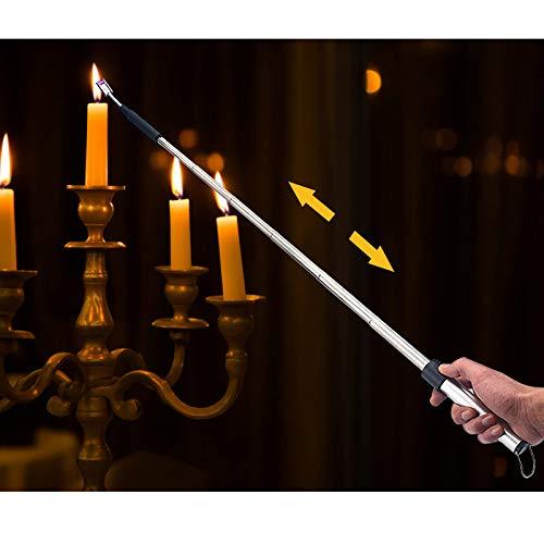 Kohree 360° streckbares Lichtbogen Feuerzeug, Ausziehbar USB Stabfeuerzeug Lichtbogen Flammloses Elektronisches Feuerzeug, Wind- & Wetterfest Feuerzeug für Küche, Grillen, Herd usw.