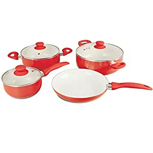 Top Home Solutions 7-Pieces Ceramic Coated Cookware Set, Red