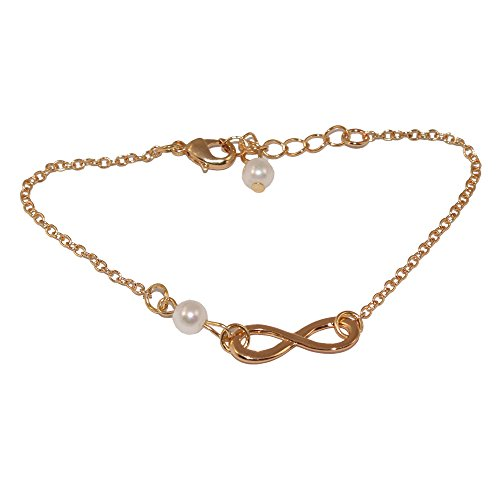Cate & Chloe Ashlyn Gold Infinity Bangle Pearl Bracelet, Beautiful Yellow Gold Plated Chain with Infinity Charm Design & Cultured Pearls, Unique Fashion Statement Jewelry Bracelets Women MSRP - $79