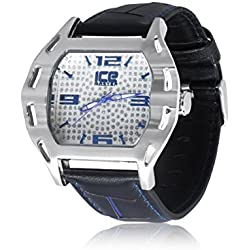 Herren versilbert schwarz echtem Leder Gurt Extra Großen Hip Hop Bling Armbanduhr