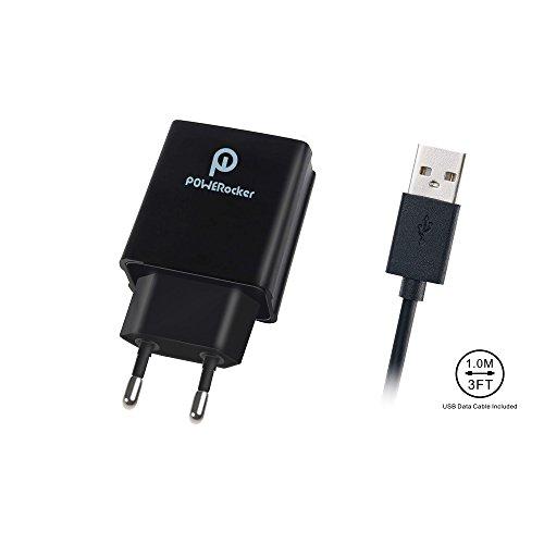 Quick Charge 3.0 Caricatore della Parete, Powerocker 18W 1 Porta USB Caricatore da muro per Galaxy S7/S6, Galaxy S7/S6, Note 5/4, Nexus 6, HTC One M9, LG V10 con 3 FT Micro USB Cavo (QC2.0 Compatibile)