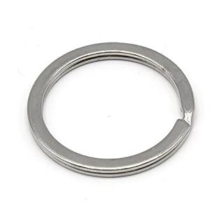 HEAVYTOOL Schlüsselringe 26mm Ø, flach Design, 2,7mm breit, vernickelt | gehärteter Stahl (Silber) Key Ring [25 Stück] Schlüsselring 25mm