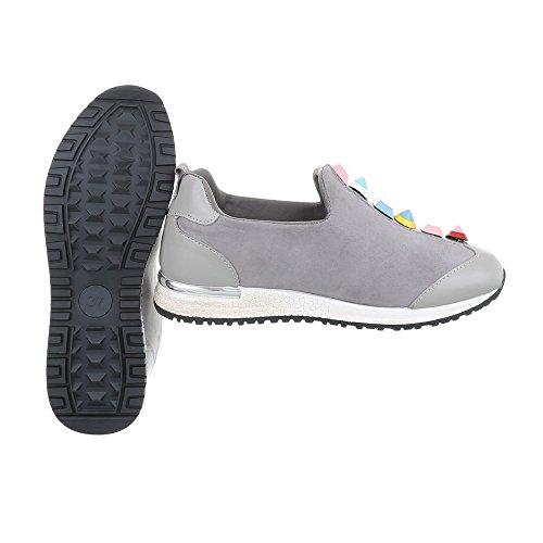 Ital-Design Sneakers Low Damenschuhe Sneakers Low Sneakers Freizeitschuhe Hellgrau