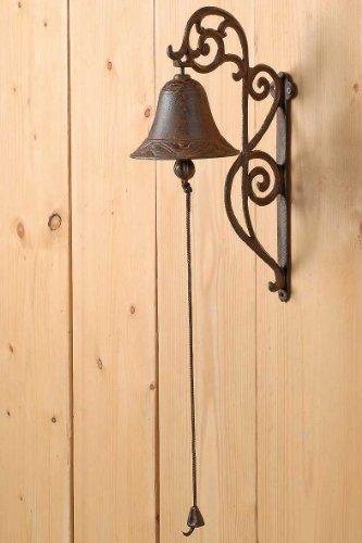 Türglocke Glocke Hausglocke Gusseisen H 33 cm Braun Landhaus