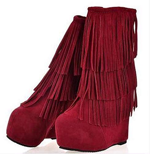 HBDLH-Zapatos de Mujer/Zapatos De Mujer Otoño - Invierno Escarchado Tubo De Media Ladera Tacones Botas Flecos Tacones Altos Botas Altas Botas con Botas.Treinta Y Siete Black