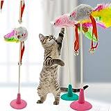Cat Rabbit Hair Ball Rattenart Cat Teasing Stick Katzenstange Truthahnfeder -Farbig