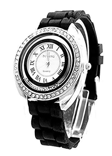 Trendit Damenuhr Silber Strass Analoges Quarz Uhrwerk Silikon Armband schwarz