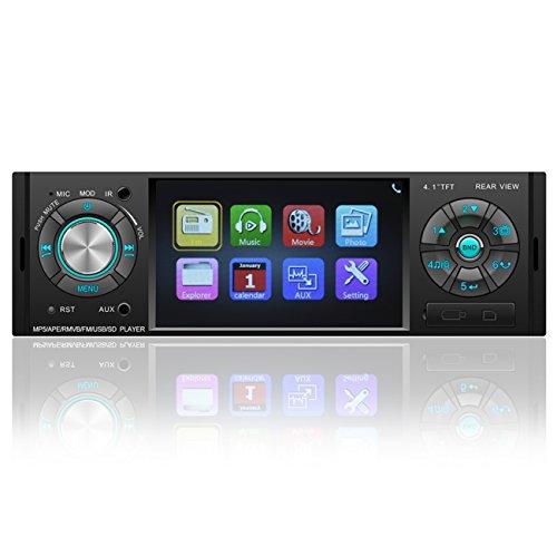 Favoto 4.1 Zoll Autoradio Bluetooth Single Din FM Radio Car Audio Player 800 * 480 WVGA 1080P Video Unterstützt USB SD Card AUX mit Fernbedienung