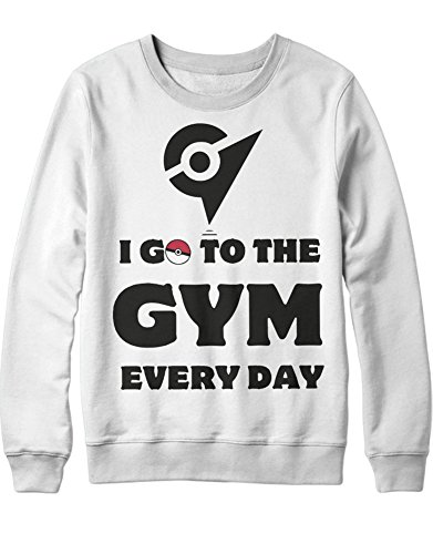 Sweatshirt Poke I Go to The Gym Every Day Leader Kanto 1996 Blue Version Pokeball Catch 'Em All Hype X Y Blue Red Yellow Plus Hype Nerd Game C980115 Weiß M