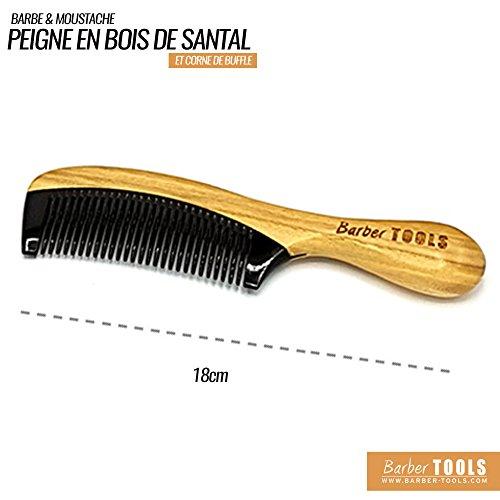 ✮ Barber Tools ✮ Kamm Bart und Schnurrbart aus hochwertigem Sandelholz und Büffelhorn, antistatisch. (Kamm Horn Schnurrbart)