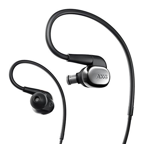 AKG N40 Hochwertiger In-Ear / Behind-the-Ear Kopfhörer für Hochauflösende Audiowiedergabe mit Premium und Individualisierbarem Klang, Universal 3-Tasten-Mikro / Fernbedienung - Silber