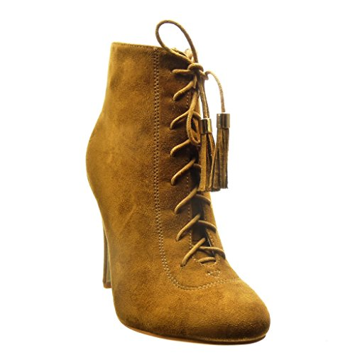 femme pom lacets Talon aiguille 10 CM frange sexy Angkorly boots Bottine haut Chaussure Camel 5 pom Mode low xwPwv0YOqS