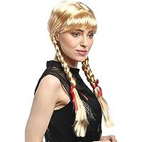 WIG ME UP ® - XR-008-P02 Peluca mujeres Carnaval Cosplay larga Trenzas con cintas trenzadas flequillo Colegiala Lolita rubia rubio de oro 60 cm