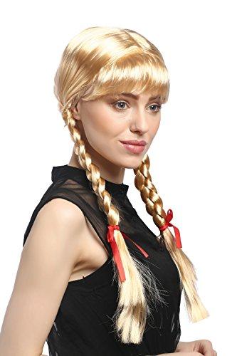 Perücke Damen Karnveval Fasching Cosplay Zöpfe Geflochten mit Schleifen Pony Schulmädchen Lolita Blond Goldblond ca. 60 cm (Geflochtene Perücken)