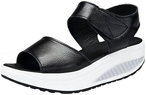 DAFENP Zapatos de Mujer Cuña Sandalias Plataforma Malla Respirable Peep Toe Shape Ups Andar Deporte Zapatilla,lx308-black2-EU39