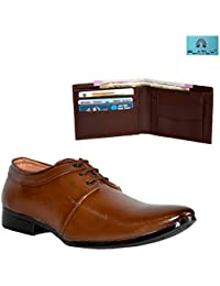 Platly Combo Of Formal Party And Office Wear Outdoor Leather Shoes + Leather Wallet For Man And Boys