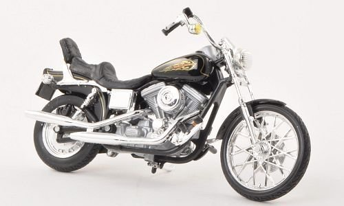 Harley Davidson FXDWG Dyna Wide Glide, schwarz, 1997, Modellauto, Fertigmodell, Maisto 1:18 (Davidson Harley Autos Modell)