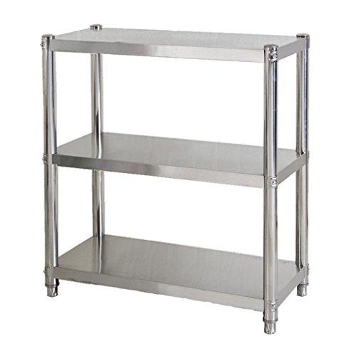MFFACAI Küche Regale Lagerregal 3-Schicht-Mikrowelle Regal Küchenutensilien Aufbewahrungsbox Edelstahl Boden DREI Etagen Ofen Rack kann Regale überall verschieben, Length 60 Width 30 Height 80 -