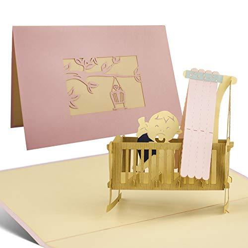 Karte zur Geburt Mädchen in Rosa - die perfekte Karte für jede Geburt, Glückwunsch Geburt, Glückwunschkarten Geburt, Karten zur Geburt, tolle Pop up Karte G09.3