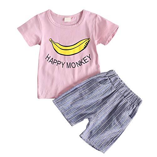 (Baby-Sommer-Outfit für Junge Mädchen, Happy Monkey Banana gedruckt Shirt Top und Shorts 2 Stück Kleidung Set)