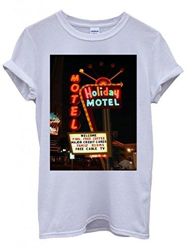 Holiday Motel Hotel America Retro Cool Funny Hipster Swag White Weiß Damen Herren Men Women Unisex Top T-Shirt Weiß