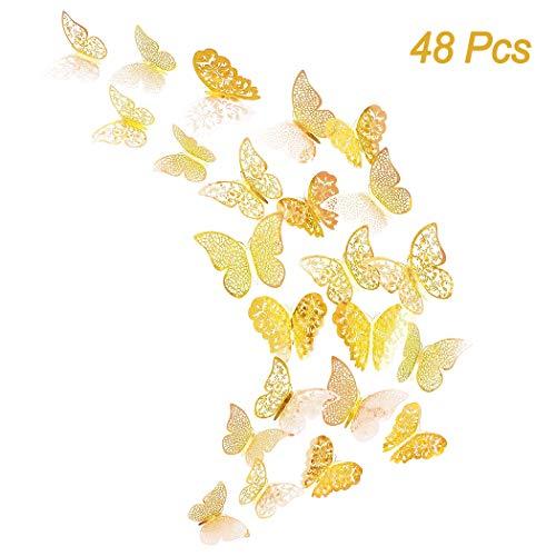 48er Deko Schmetterling Wandaufkleber, Creatiees 3D Abnehmbar Schmetterlinge Wandaufkleber Wandtattoo Wandbilder Wandsticker Dekoration mit Klebepunkten für Schlafzimmer Wohnzimmer Kinderzimmer(Gold)