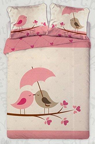 """Maxi & """"Mini"""" amore """"""""-Set di biancheria da letto con copripiumone da 160 x 200 cm, 2 pezzi federa 70 x 80, 100% cotone, modello: (2)"""