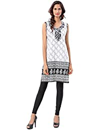Joypur Trésors's Women Cotton Straight Fit Sleeveless Printed Kurti With Attached Stitch-able Sleeves (White &...
