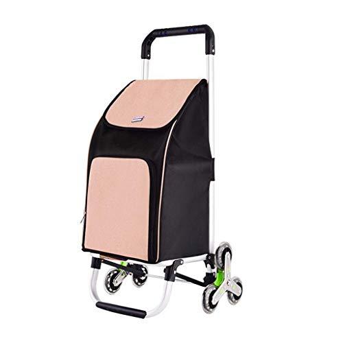 Klettern Einkaufswagen Einkaufswagen Kleiner Einkaufswagen Tragbarer Klappwagen Haushaltswagen Gepäckanhänger zum Ziehen Kind (Farbe: Khaki, Größe: 42 * 40 * 90 cm) -