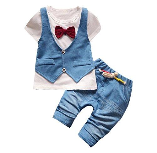 Kinder Baby Jungen Gut aussehend T-Shirt Mit Bowknot + Lange hose Bekleidungssets By Covermason (6-12 Monate(80CM), Weiß)