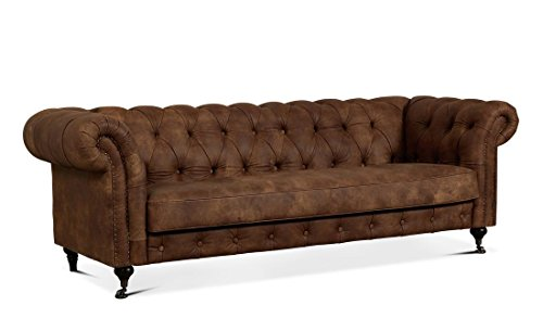 Luxus Churchill 2,5, 3-Sitzer Chesterfield-Stil Sofa Bett Leder, geanium