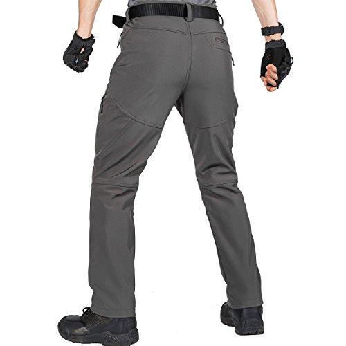Free Soldier - Pantaloni da uomo, per attività all'aperto, con morbido rivestimento impermeabile e anti-vento, pantaloni per arrampicata e trekking Grau