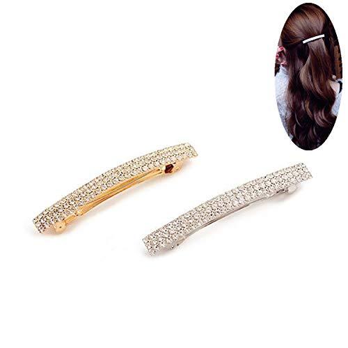 PPX 2 Stück Haarschmuck Haarklammer Bananenspange mit Strass hochwertig/schön-Gold und Silber (3 Rows diamonds series)